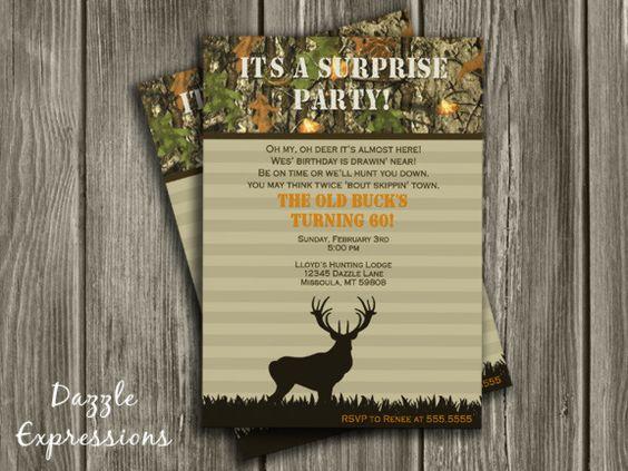 printable hunting surprise birthday invitation