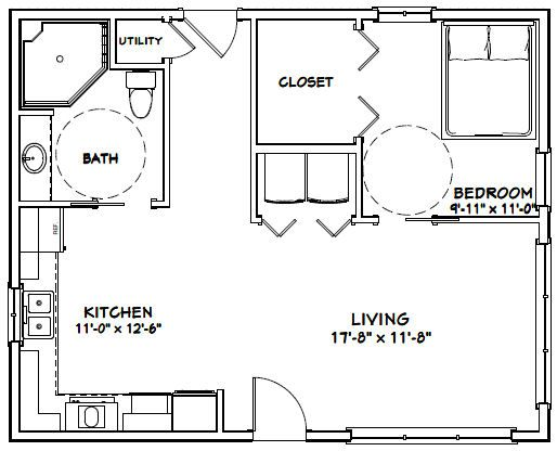 30x24 House 30x24h1f 720 Sq Ft Excellent Floor Plans Except For The Wasted Space In Tiny House Floor Plans Small House Floor Plans Cabin Floor Plans