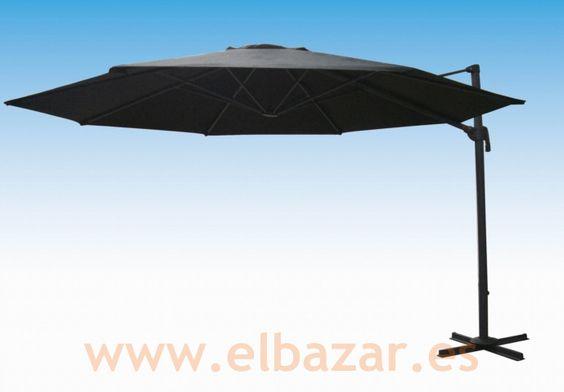 Sombrilla/parasol negro 3,5m diám. Pié lateral 360