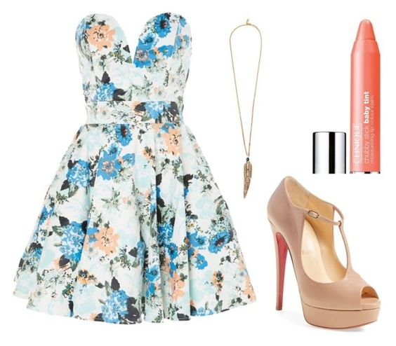 """""""51#"""" by amazingpaz ❤ liked on Polyvore featuring TFNC, Roberto Cavalli, Clinique and Christian Louboutin"""