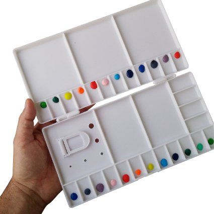 "Large Watercolor Folding Palette - 33 Mixing Wells - Box Cover Lid Opens Flat For Art Studio + Thumbhole For Plein Air Painting - Rigger Art Acrylic & Oil Palettes. Color: White 10.2"" x 5.1"" Pallet"