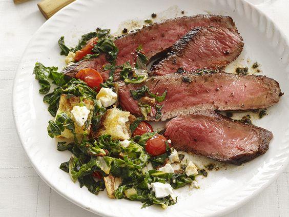 Seared steak with chard salad