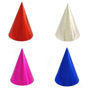 Aspire Metallic Cone Hats, Party Paper Hat, Great For Party, Assorted Random Colors, Price/Dozen