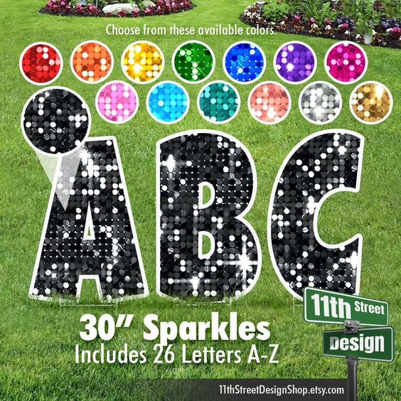22 Hot Pink Sparkle Lawn Letter Yard Signs 22 Etsy In 2021 Yard Cards Happy Birthday Yard Signs Yard Signs