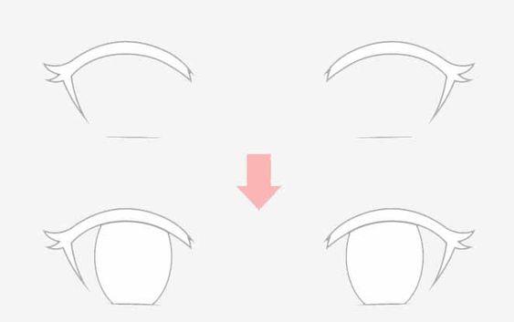 Ví dụ vẽ mắt anime với vị trí không đổi