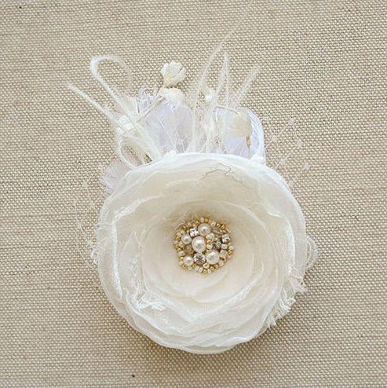 Ivory Bridal Hair Piece Wedding Hair Accessory by BelleBlooms