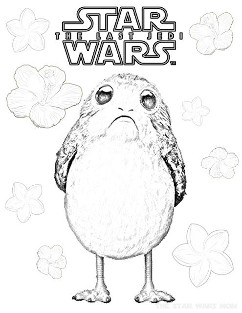 Flowers For Porg Springtime Coloring Page Star Wars Drawings