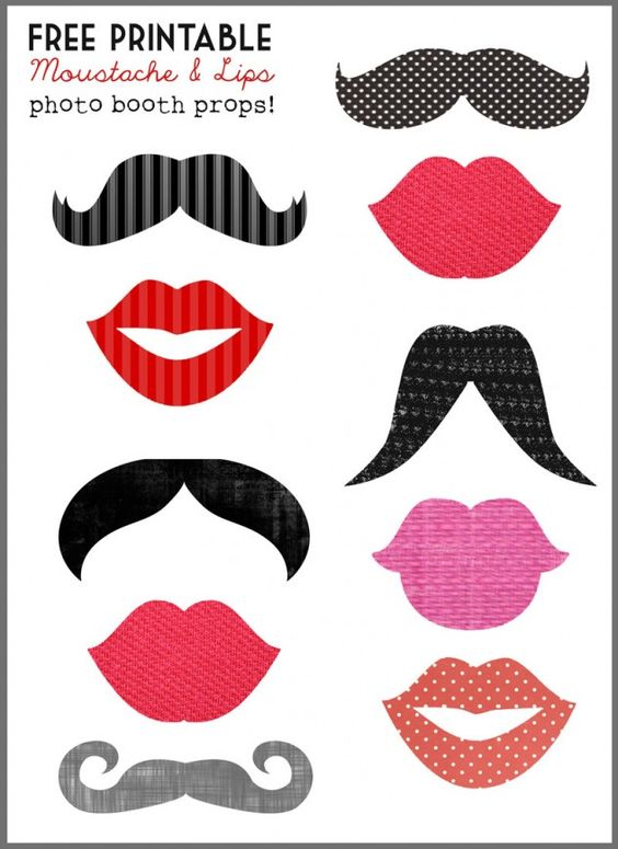 free printable download photo booth props moustache lips wedding stationery