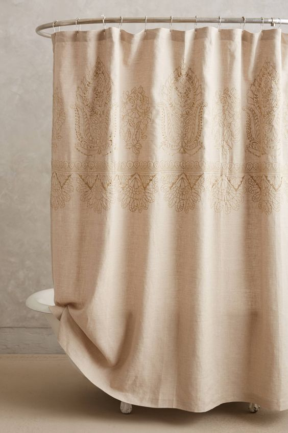 Embroidered Linen Shower Curtain Home Bathroom Products Shower