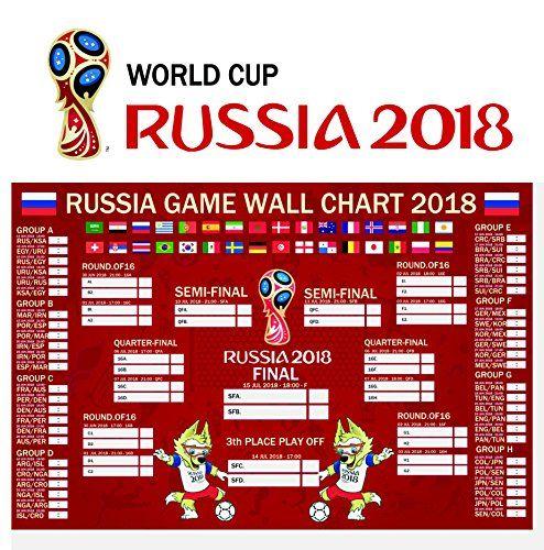 90shine Russia World Cup 2018 Stickers Wall Chart Poster Football Tournament Schedule Soccer Calendar Bar Party Dec Russia World Cup World Cup World Cup 2018