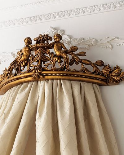 french madamoiselle - bed cornice  DIY version - use an inverted decorative shelf - select fabric panels, could be extra long drapery panels, pretty sheets, burlap - gather & staple to shelf; cover underside with plain fabric to hide the raw edges & staples  (add figurines if you want cherubs, birds, bunnies, etc)