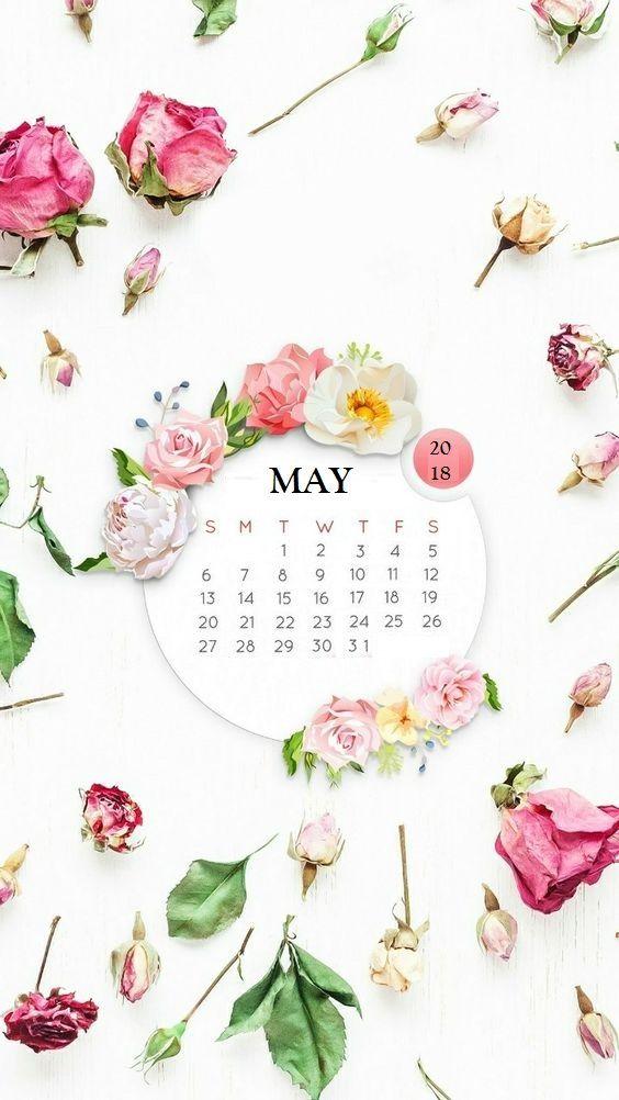 Beautiful May 2018 iPhone Wallpaper Calendar