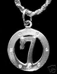 Lucky Number 7  SEVEN Silver Pendant Charm Jewelry Sterling Silver 925 Jewelry