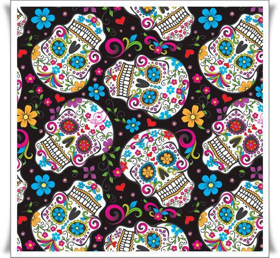 Tela online 100 algodon de calaveras coloridas fondo - Telas con motivos infantiles ...