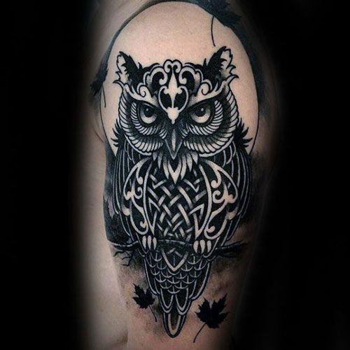 125 Best Owl Tattoos For Men Cool Designs Ideas 2020 Guide Tribal Owl Tattoos Mens Owl Tattoo Realistic Owl Tattoo