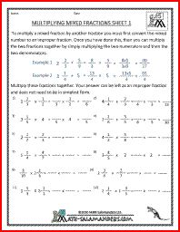 math worksheet : multiplying mixed fractions fifth grade fraction worksheets  4th  : Multiplying Fractions Worksheets 6th Grade