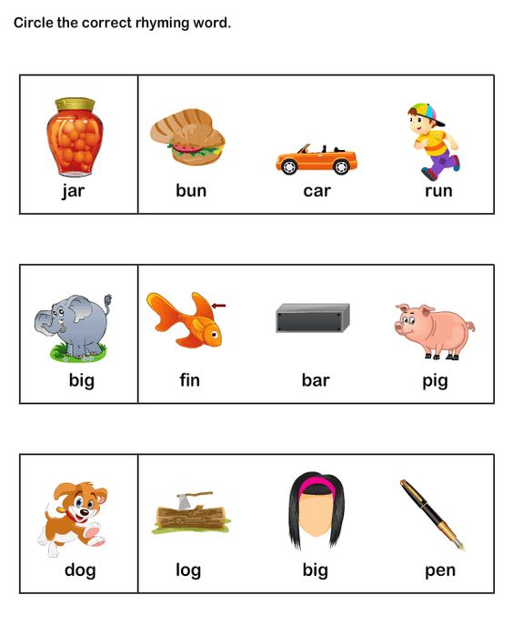 ESL-EFL Worksheets, Kindergarten Worksheets, Rhyme Time Worksheets ...