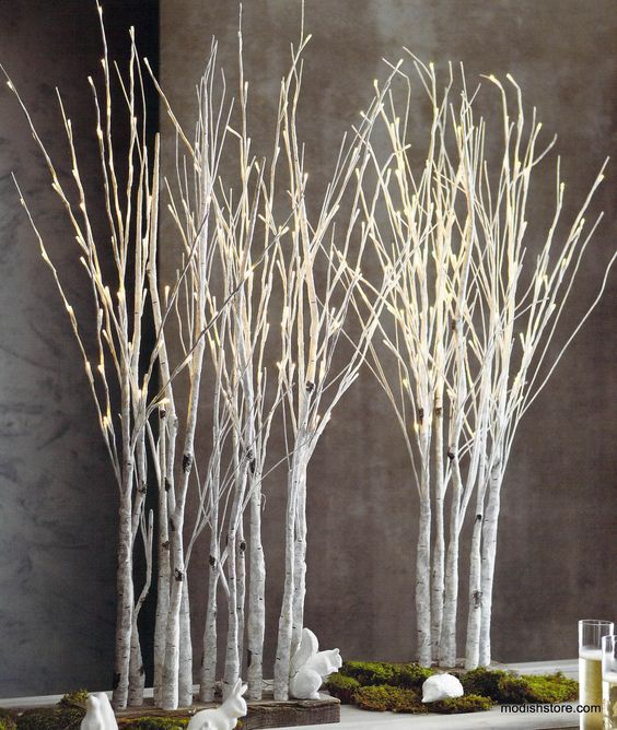 Roost Lighted Birch Grove Contemporary Christmas Decor Modern