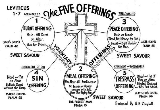 The Five Offerings Of Leviticus 1-7 | Chart w/ Brief Outline