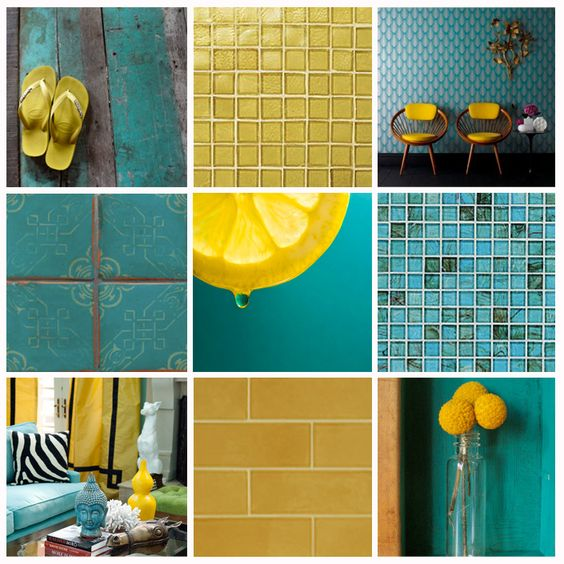 Lovely color contrast in meyer lemon yellow and fresh - Yellow and turquoise bathroom ...