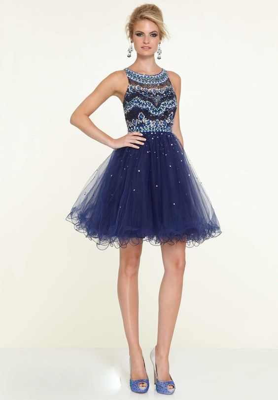 Fashionable A-Line Scoop Neck Tulle Short Homecoming Dresses With Beadings 2016 New Arrival Cocktail Dresses Party Dress