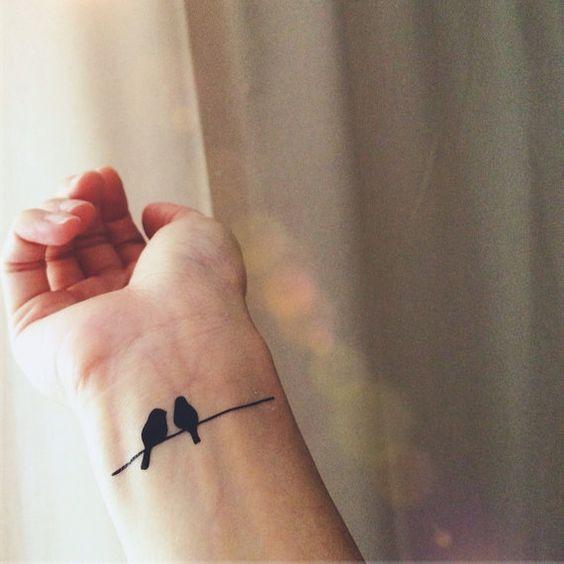 Oiseaux sur fil simple tatouage - tatouage temporaire InknArt - pack collection devis ancre oiseau aiment poignet autocollant corps: