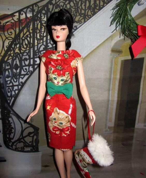 Kitty Sheath Dress for Barbie. Happy Holidays