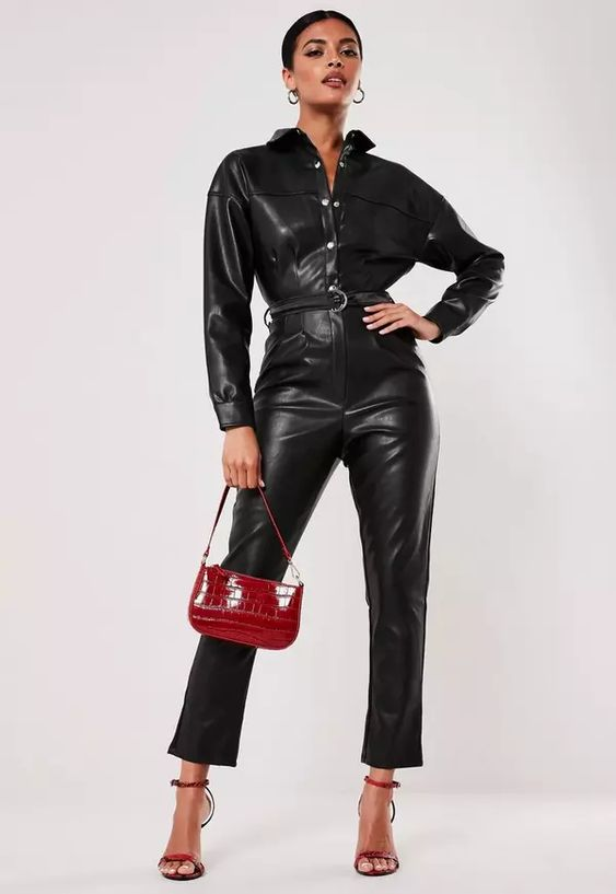 Black Faux Leather Button Down Jumpsuit | Missguided