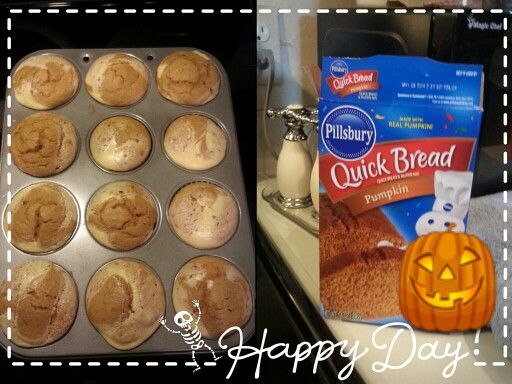 Pumpkin Cheesecake muffins ♥ <> ♥ Ingredients: Pilsbury Quick Bread Pumpkin [one box] 3 eggs or 9 tbsp Egg White substitute One 8oz pkg cream cheese [I used the new white chocolate spread by Philadelphia] 1/3 cup oil [I used extra light olive oil - don't judge] 1 cup milk [used skim - might try almond next time? ] 1 tbsp sugar [I used raw brown sugar] The cream cheese should be soft but still cold, and combine 1 egg [or 3 tbsp substitute], the cream cheese, 1 tbsp sugar - mix on low with…