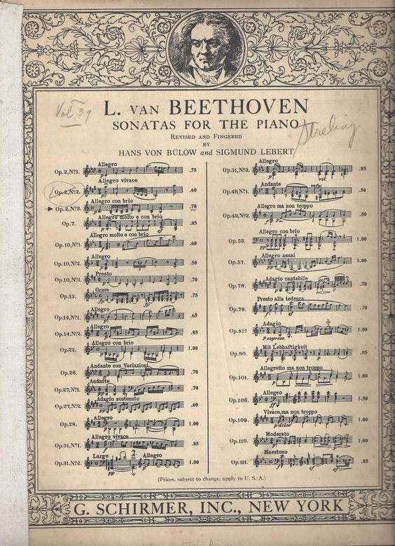 L. Van Beethoven Sonatas for the Piano Revised and Fingered by Hans Von Bulow and Sigmund Lebert C1939