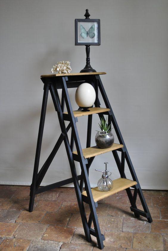 former ladder wooden 4 steps. Black Bedroom Furniture Sets. Home Design Ideas
