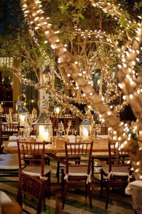 Beautiful trees wrapped in fairy white lights and lanterns on tables.Romantic Wedding Lighting Ideas #weddinginspiration