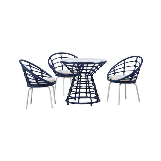 Echo 4-Piece Outdoor Dining Set, Blue - Contemporary - Outdoor Dining... ❤ liked on Polyvore featuring home, outdoors, patio furniture, outdoor patio sets, blue outdoor furniture and blue patio furniture
