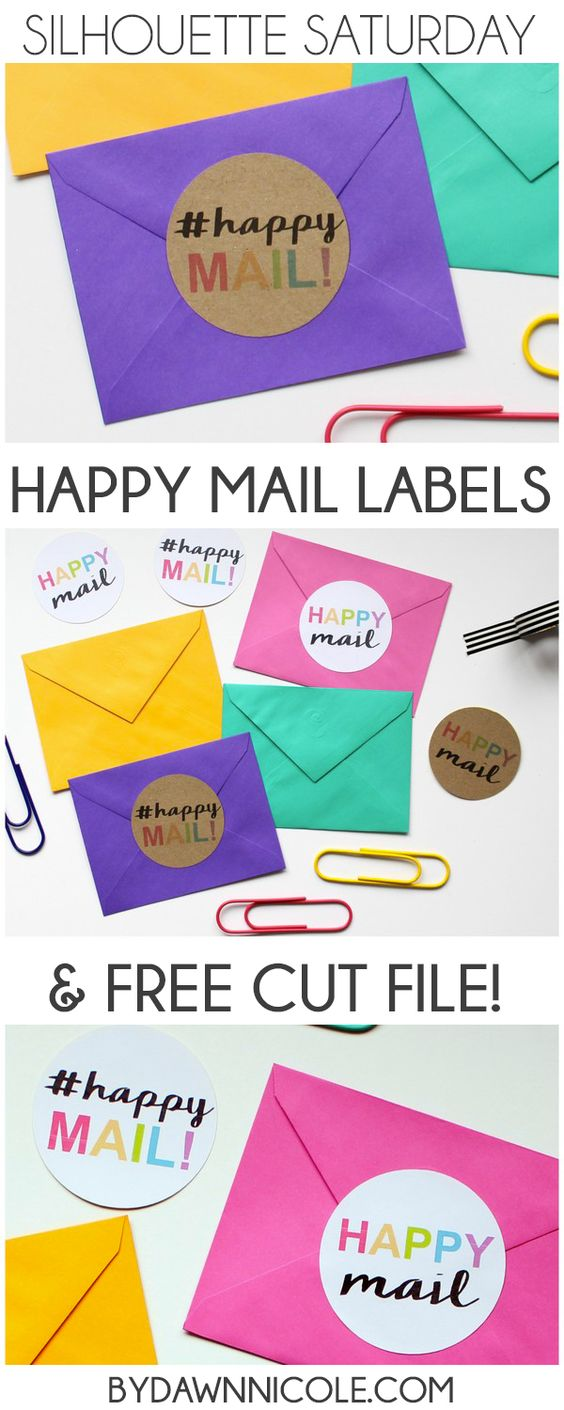 Happy Mail Labels + Free Cut File! A fun freebie to jazz up your snail mail in this week's Silhouette Saturday. | bydawnnicole.com