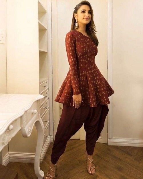 Parineeti Chopra In Dark Brown Patiyala Suit Patiyala Dress