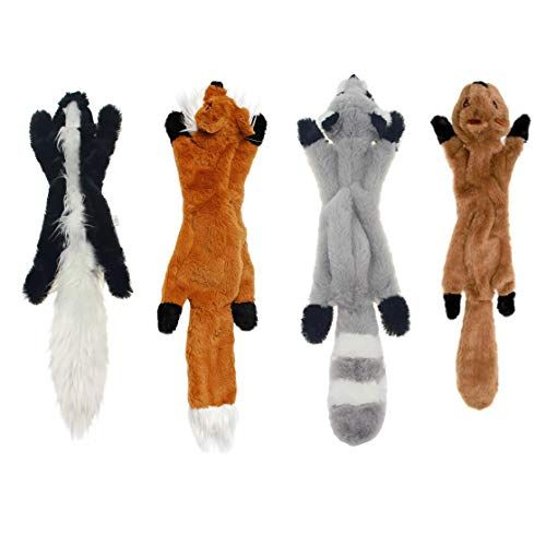Yipet 4 Pcs Squeaky Toys Dogs Skinny No Stuffing Squeaky Plush Dog
