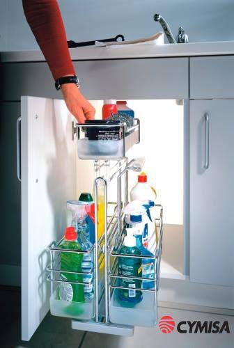 Guarde sus productos de limpieza para cocina de modo fácil y ordenado.: