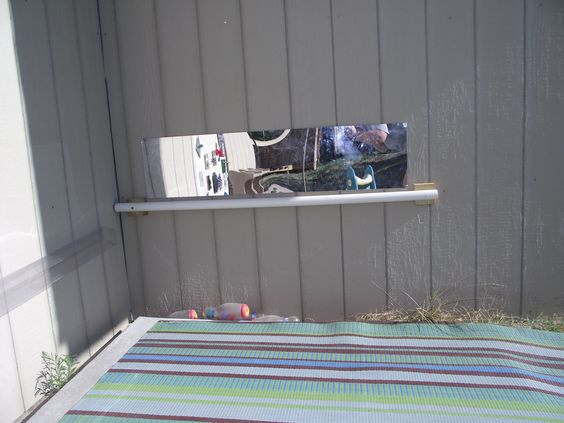 """Safety mirror and support bar for Bella's Playhouse """"still in progress""""  toddler town."""