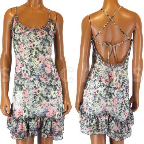 I4 Steve Madden Riviera Romance Strappy Girly Floral Ruffle Feminine Dress   eBay