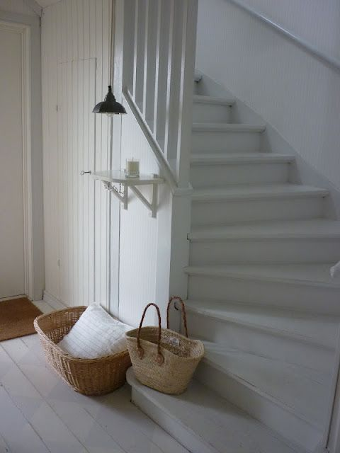 White painted stairs and floor; fresh, rustic and pure country
