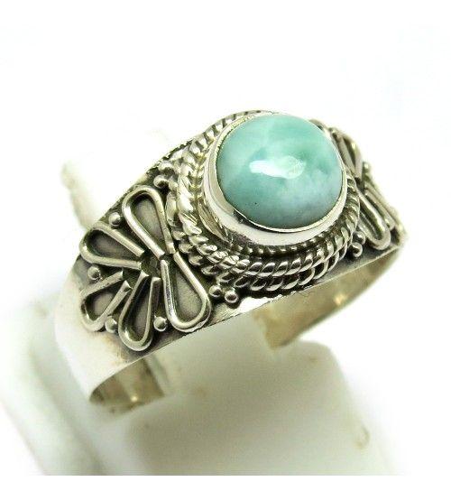 Attractive !! Larimar Silver Gemstone Ring Round Shape Handmade Silver Jewelry