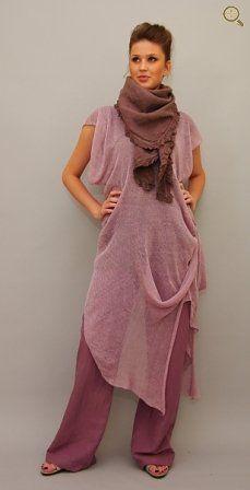 Gri-mauve chiffony asym dress over plum pants: