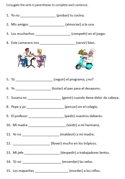 Spanish Worksheets Printables Spanish Stem Changing