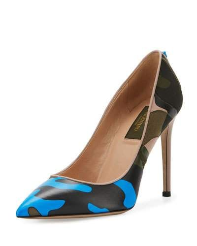 Camouflage-Print Leather 100mm Pump, Blue/Multi