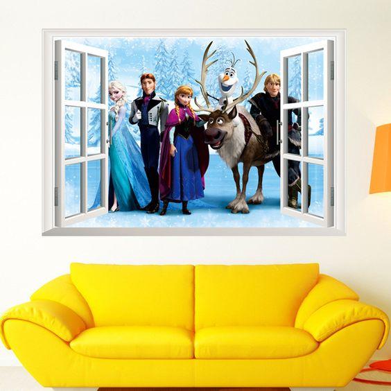 Elsa Anna and Friends 3D Window Winter
