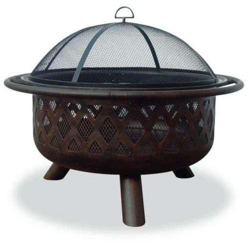 Uniflame Wad792sp 36 Inch Outdoor Firebowl With Lattice Design Oil Rubbed Bronze Bowl With Design Provide Wood Burning Fire Pit Steel Fire Pit Fire Bowls