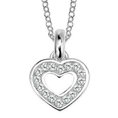 Lovelinks Sterling Silver Crystal Heart 11331652-50 Necklace - Coolrocks