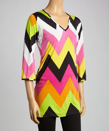 Another great find on #zulily! Pink & Lime Zigzag V-Neck Tunic by Highness NYC #zulilyfinds