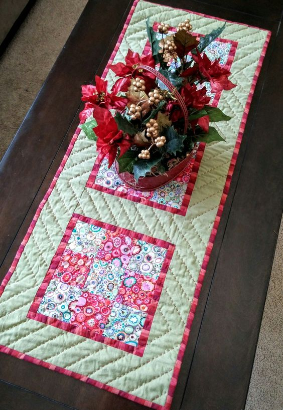 Boho Chic Christmas Table Runner, Bohemian, Hippie Chic, Global, Kaffe Fassett, Kitchen Linens, Holiday Decor, Farm House, Rural, Unique by LittleWheelerQuilts on Etsy