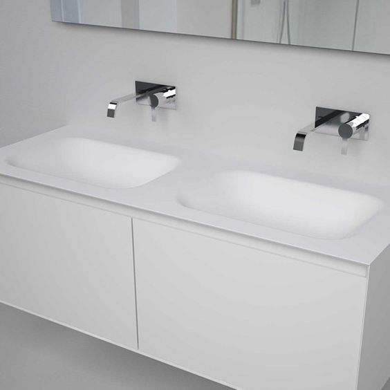 antoniolupi LUNARIA Top with 2 integrated SEGNO 72 basins white